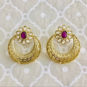 NWOT gold & ruby hoop earrings